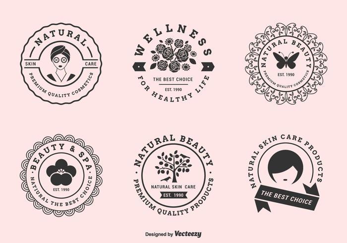 Ensemble d'étiquettes vectorielles pour les cliniques de beauté vecteur