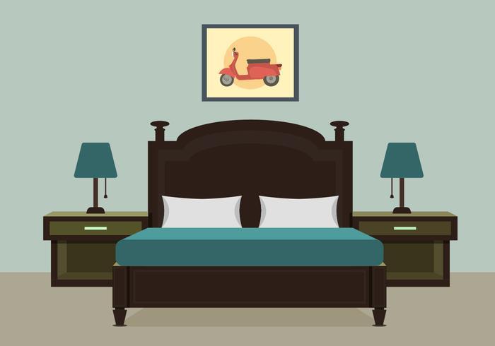 Chambre à coucher avec illustration vectorielle de meubles vecteur