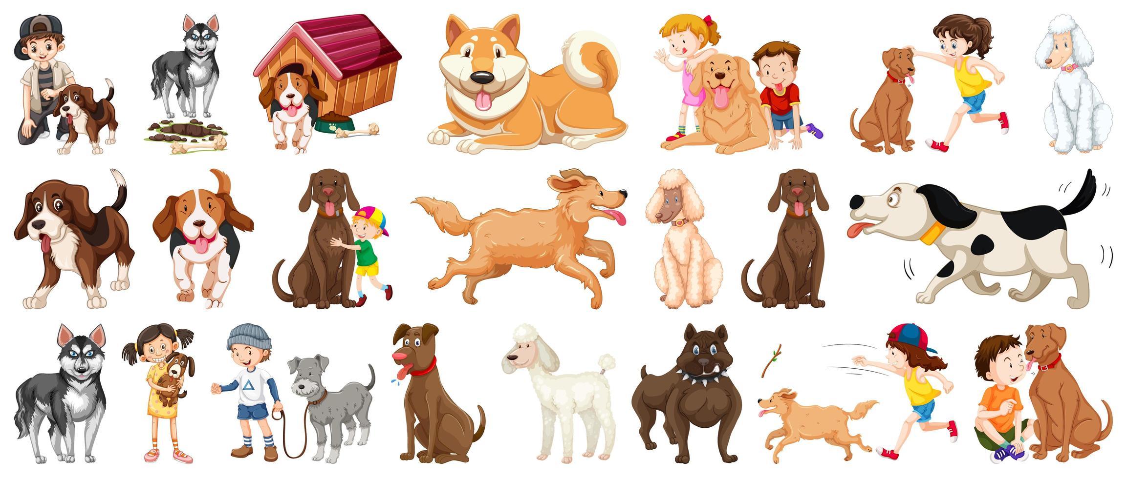 ensemble de personnage de dessin animé de chien vecteur