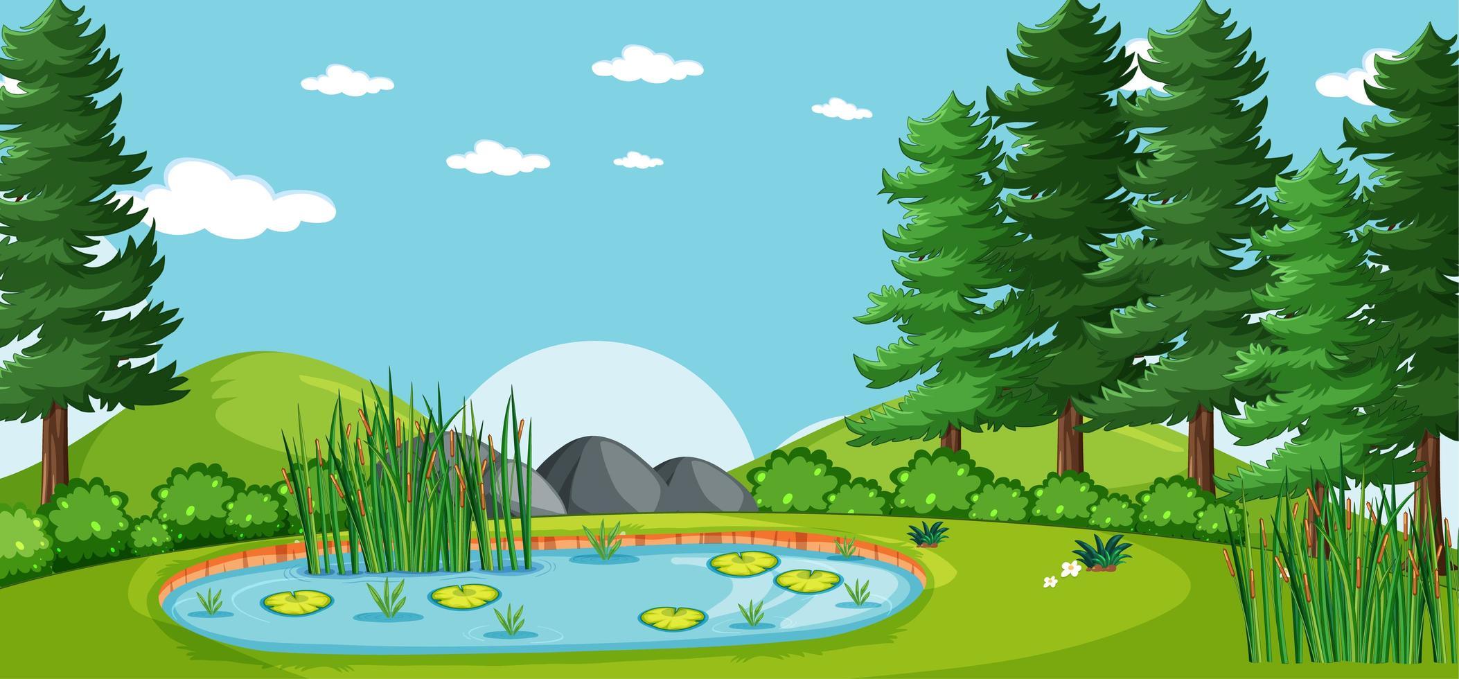 paysage vide dans la scène du parc naturel avec de nombreux pins et marais vecteur