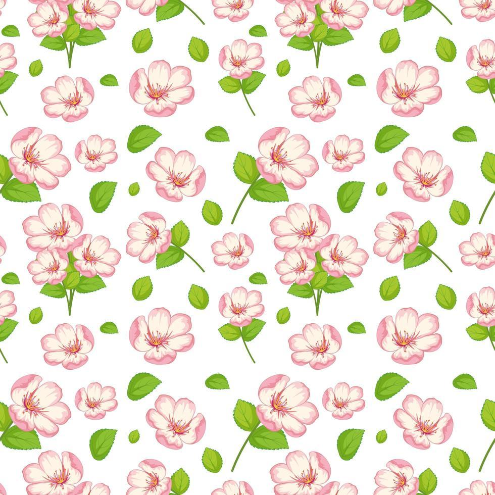 ensemble de jolies fleurs roses et feuilles vecteur