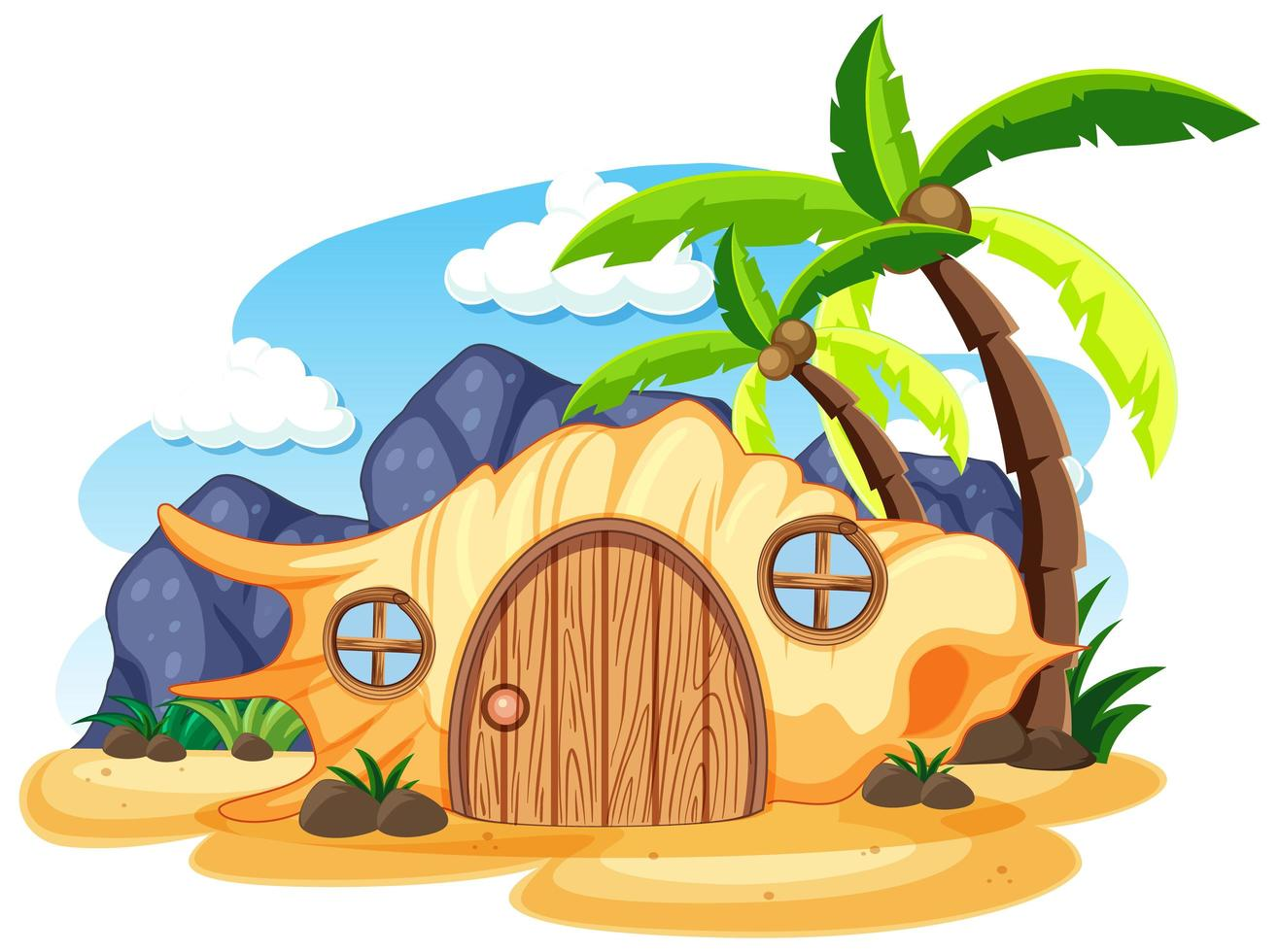 Shell maison de conte de fées sur le style de dessin animé de plage sur fond blanc vecteur