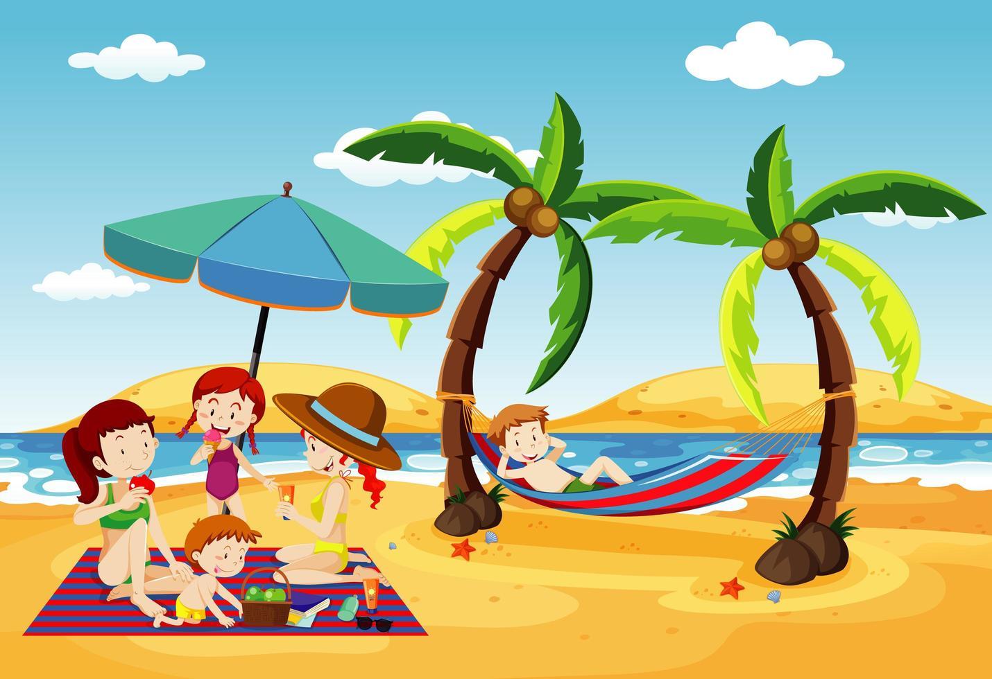 scène de l'océan avec des gens s'amusant sur la plage vecteur