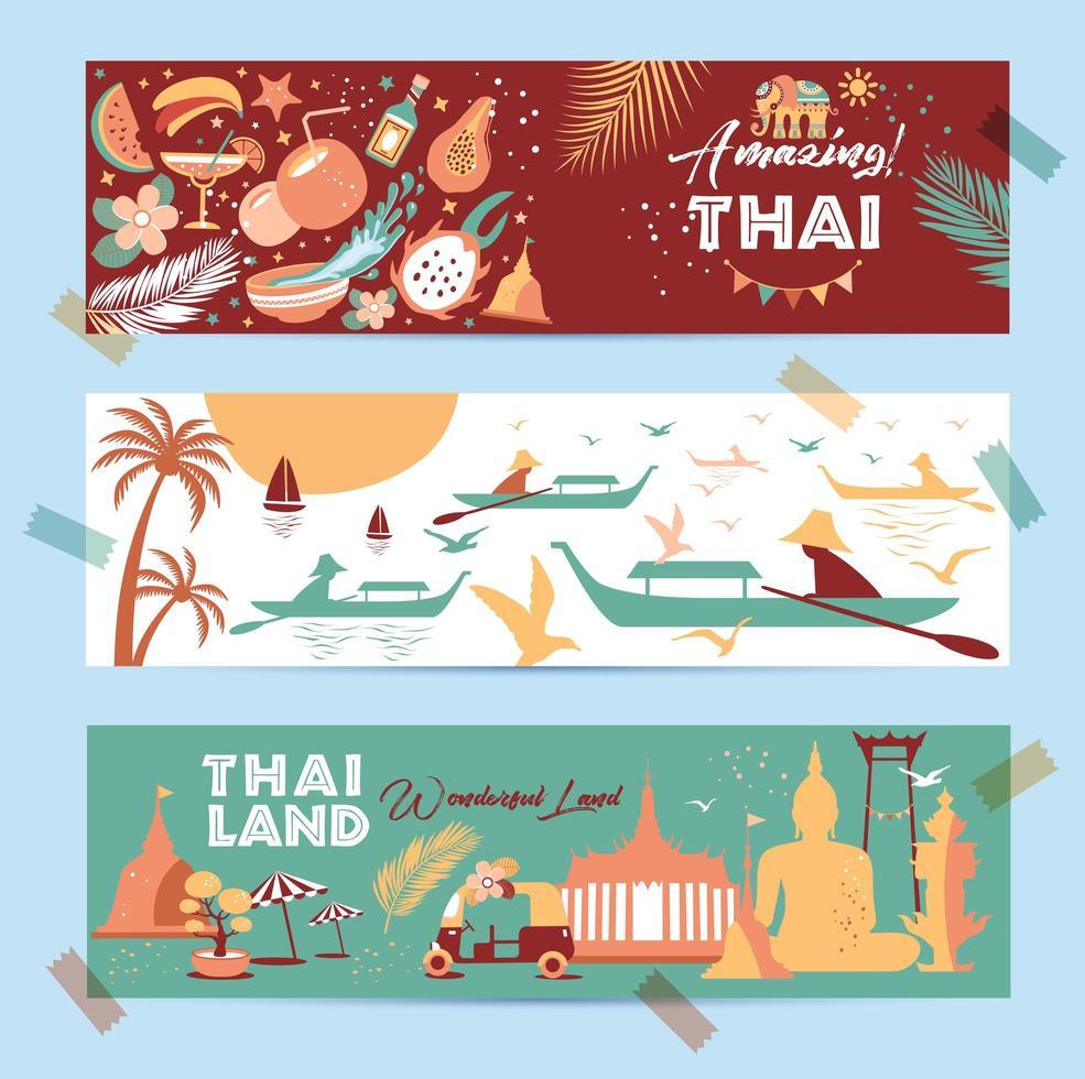 collection de symboles thaïlandais dans des bannières vecteur