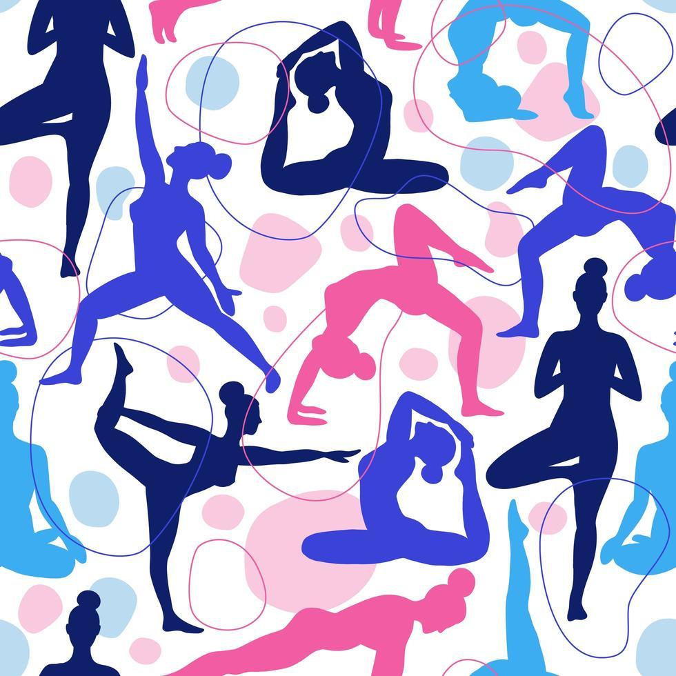 modèle sans couture de femmes faisant du yoga vecteur