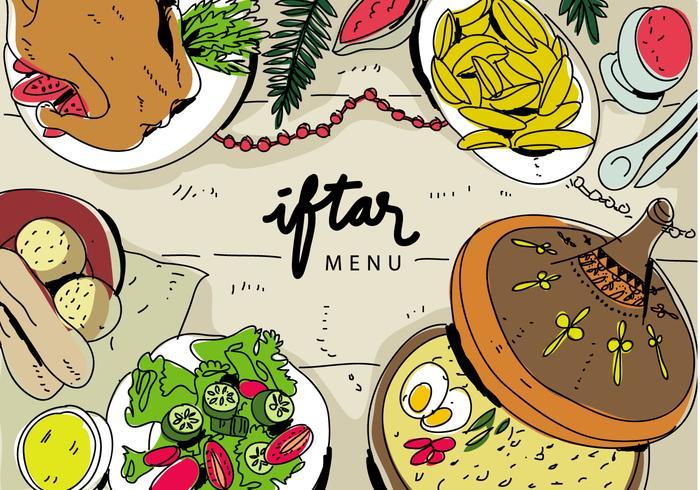Iftar Ramadhan Menu Food On Traditional Tajine Illustration Vectorisée vecteur