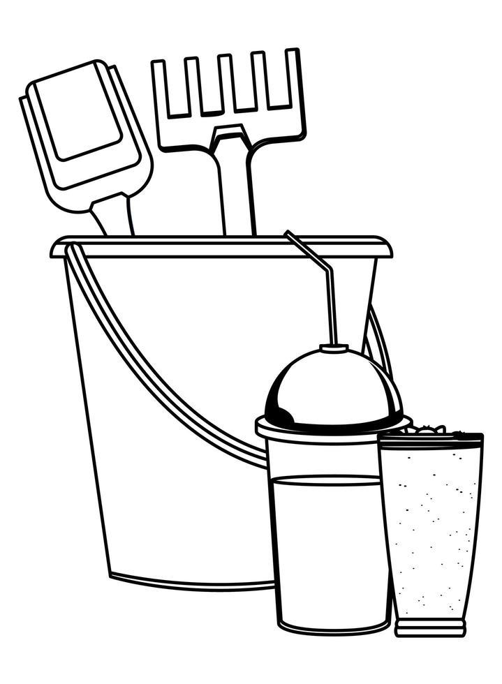 caricature de plage et vacances d'été en noir et blanc vecteur
