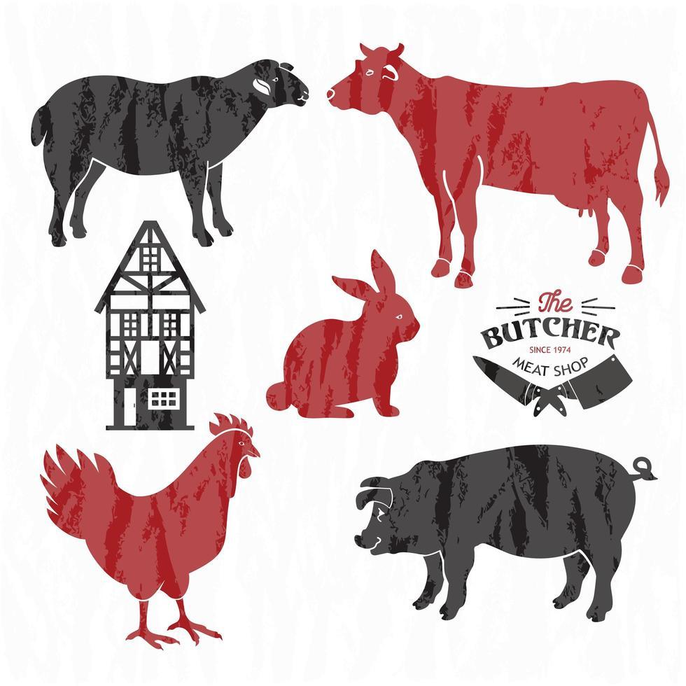 ensemble de ferme animale vecteur