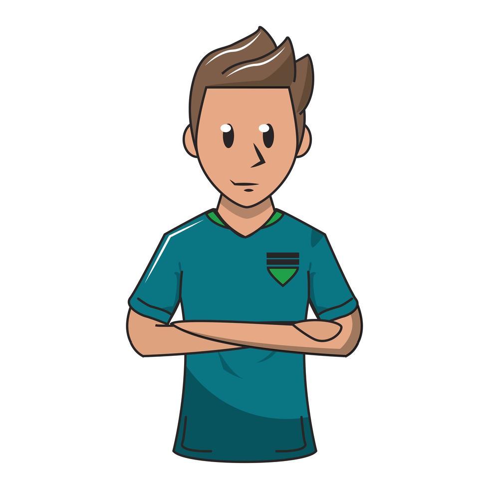 personnage de dessin animé de joueur de football vecteur