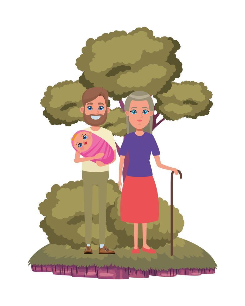 personnage de dessin animé de famille à l'extérieur vecteur
