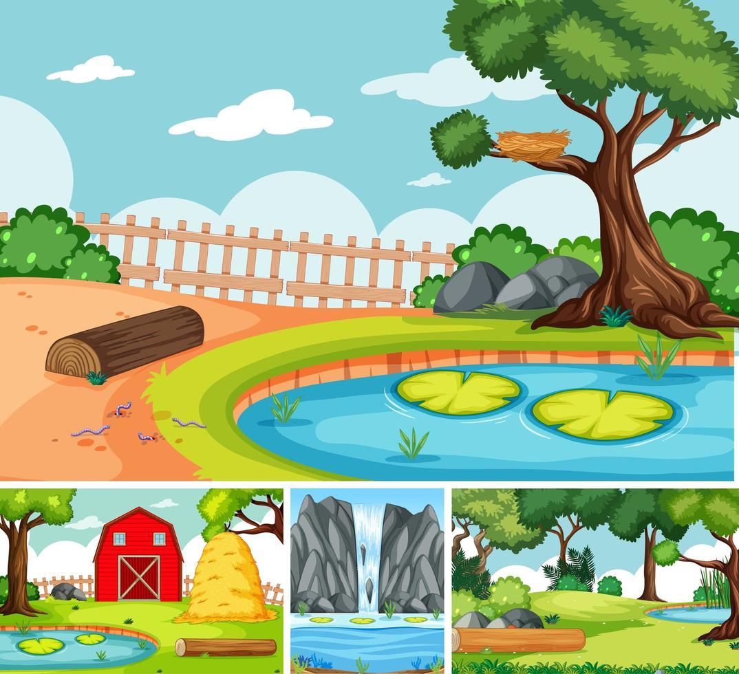 quatre scènes différentes dans le style de dessin animé de la nature vecteur