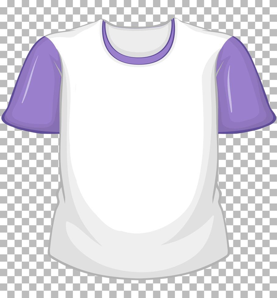 t-shirt blanc blanc à manches courtes violet sur transparent vecteur