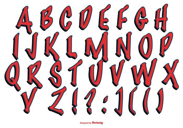 Collection rouge d'alphabet de style graffiti vecteur