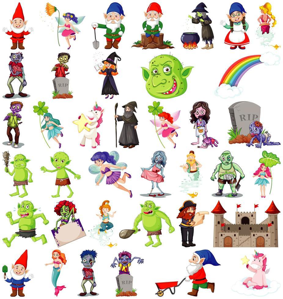 ensemble de personnages de dessins animés fantastiques et thème fantastique isolé sur fond blanc vecteur