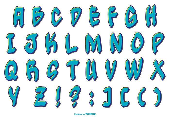 Collection Blue Alphabet style graffiti vecteur