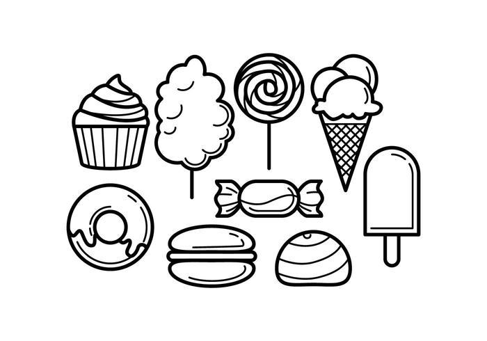 Vecteur icône gratuit de ligne de nourriture sucrée