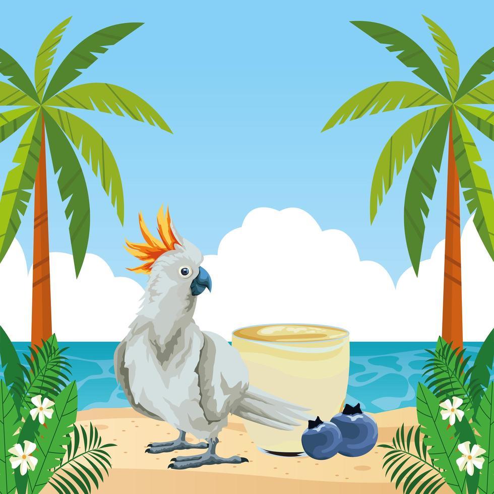 composition d'été, de plage et de vacances tropicales vecteur