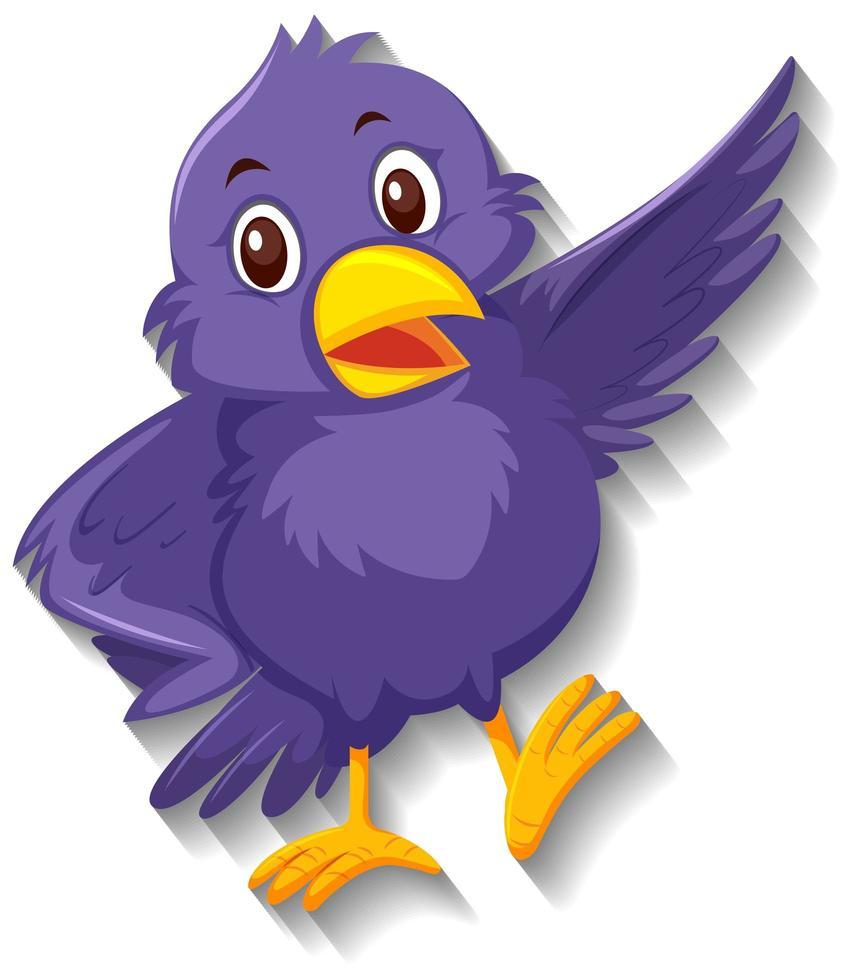 personnage de dessin animé mignon oiseau violet vecteur