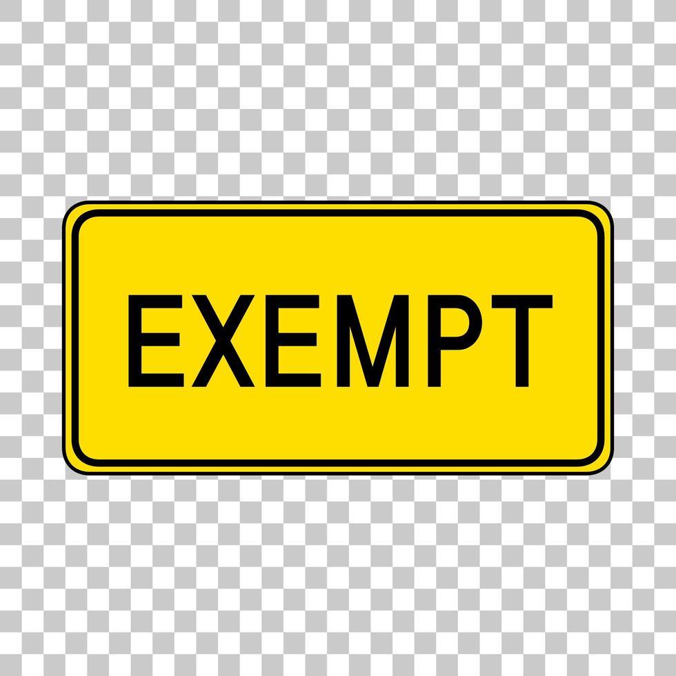 signe d'exemption isolé sur fond transparent vecteur