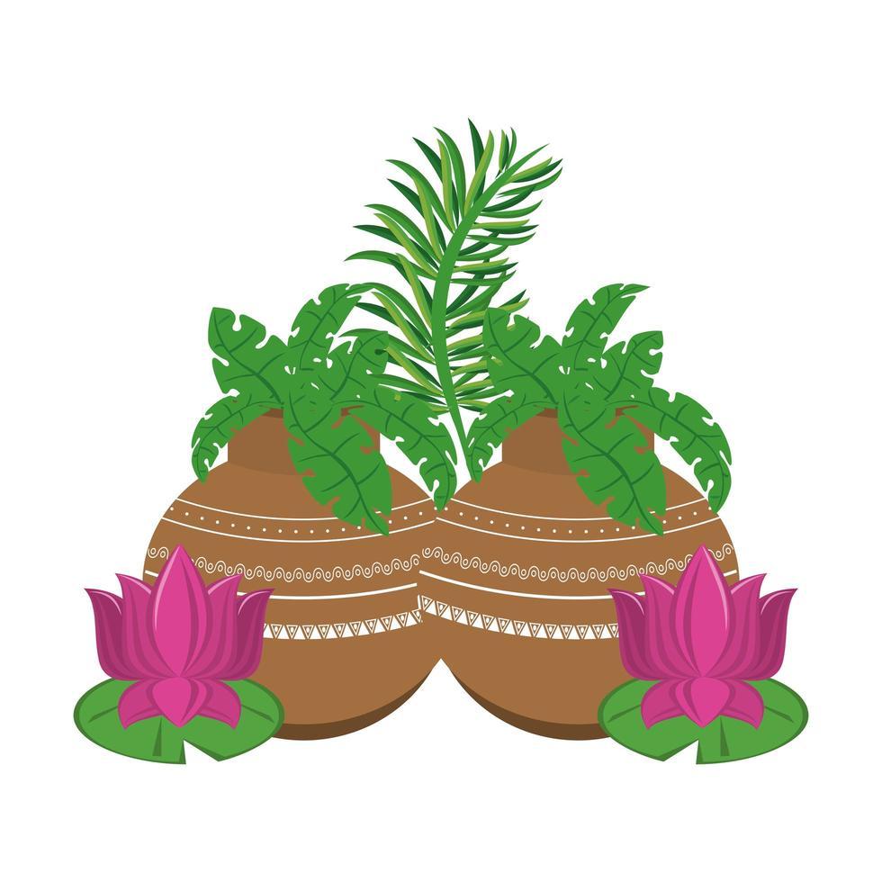 fleurs de lotus et pots avec des feuilles vecteur