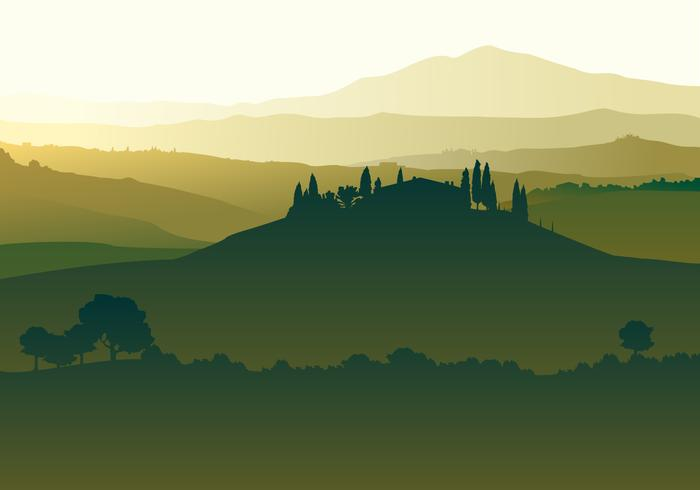 Landscape Of Tuscany Free Vector