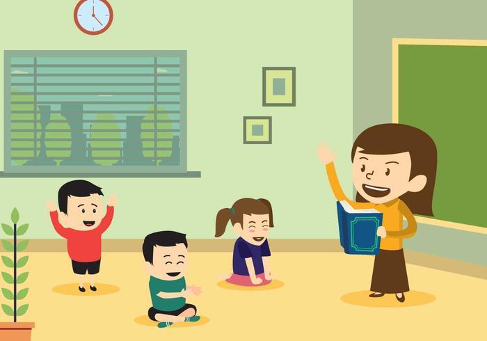 Lecture gratuite d'un professeur d'un livre pour son élève vecteur
