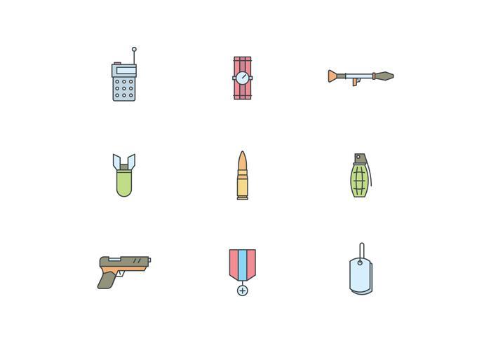 Icônes militaires simples vecteur