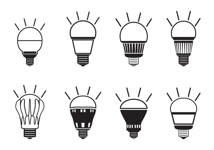 Ensemble d'icônes de lumière LED vecteur