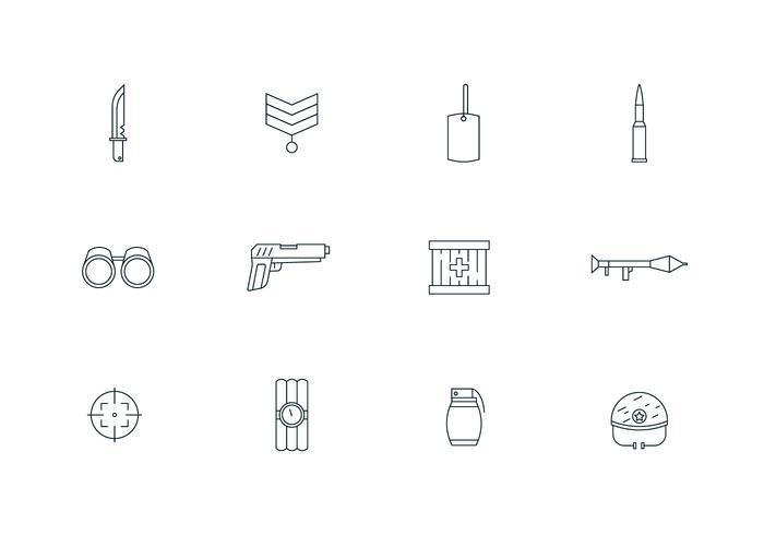 Aperçu des icônes militaires vecteur