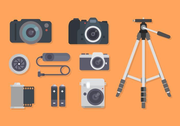 Vecteurs d'équipement à caméra plate vecteur