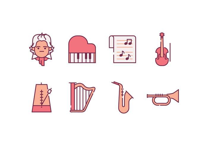 Icônes de musique classique vecteur