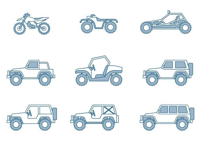 Icônes de véhicules hors route vecteur