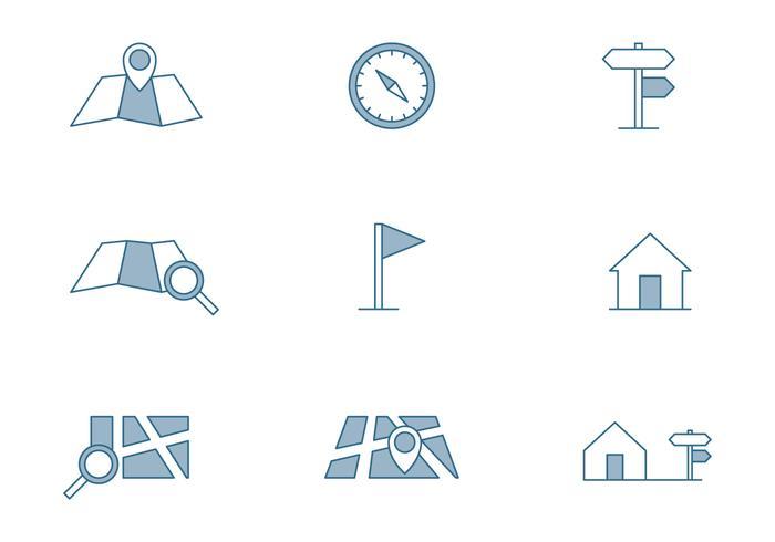 Icône de symbole de carte vecteur