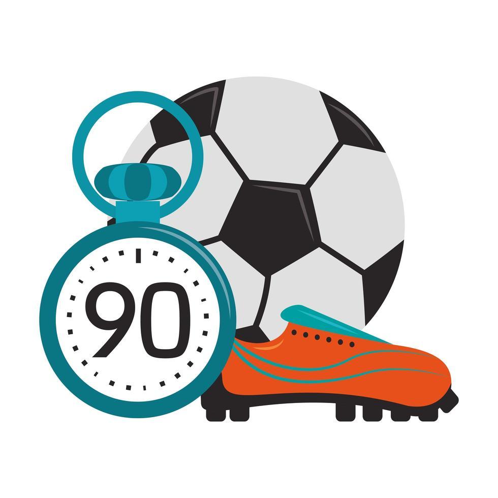 ballon de football avec chaussure et minuterie vecteur