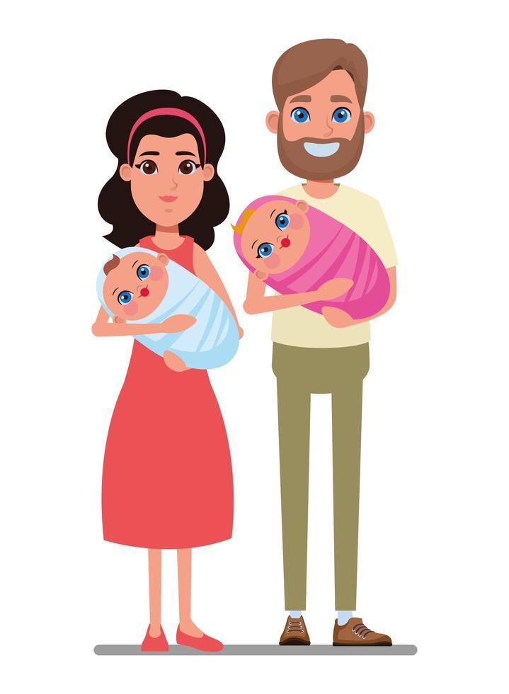 personnages de famille de dessin animé vecteur
