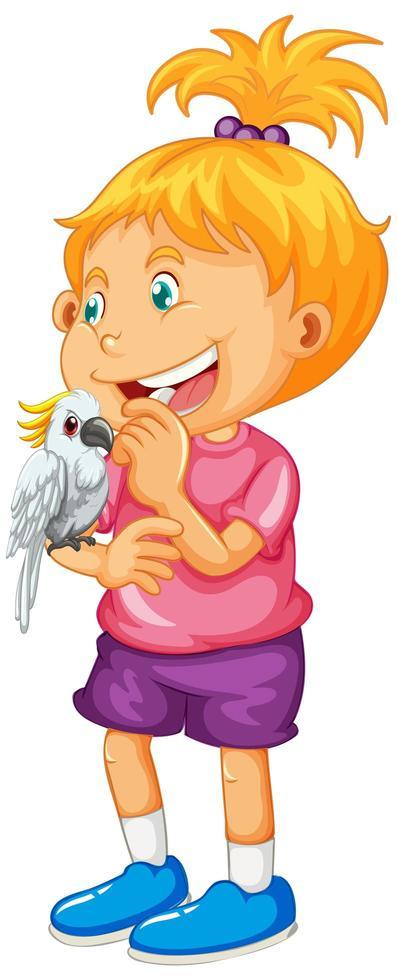 fille heureuse tenant un perroquet vecteur