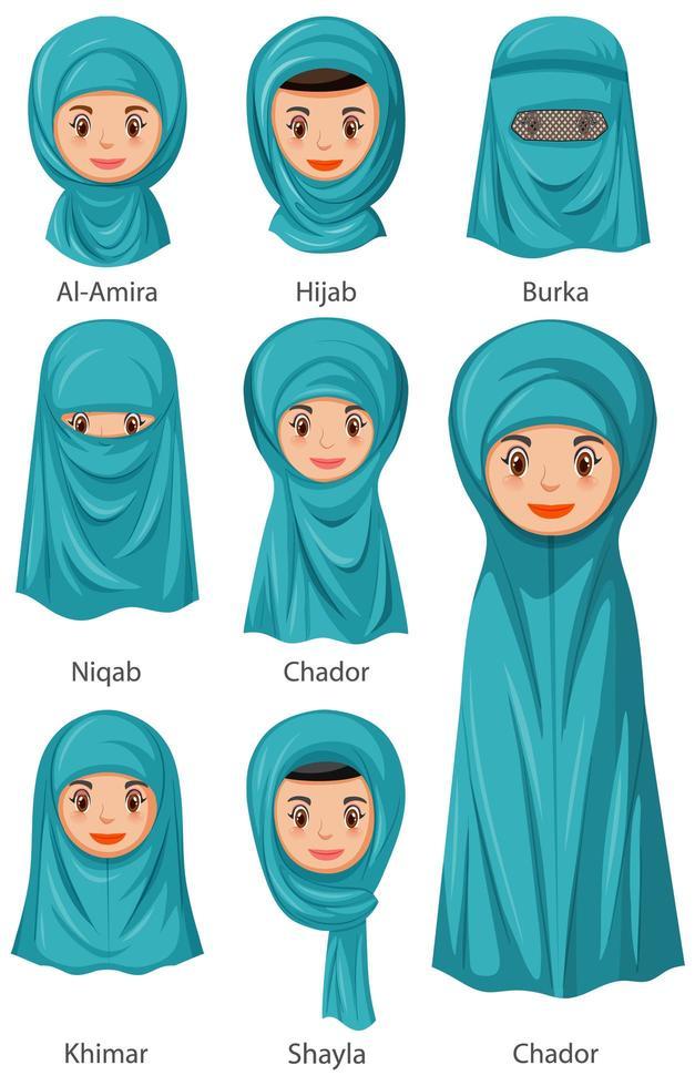 types de voiles traditionnels islamiques de femmes en style cartoon vecteur