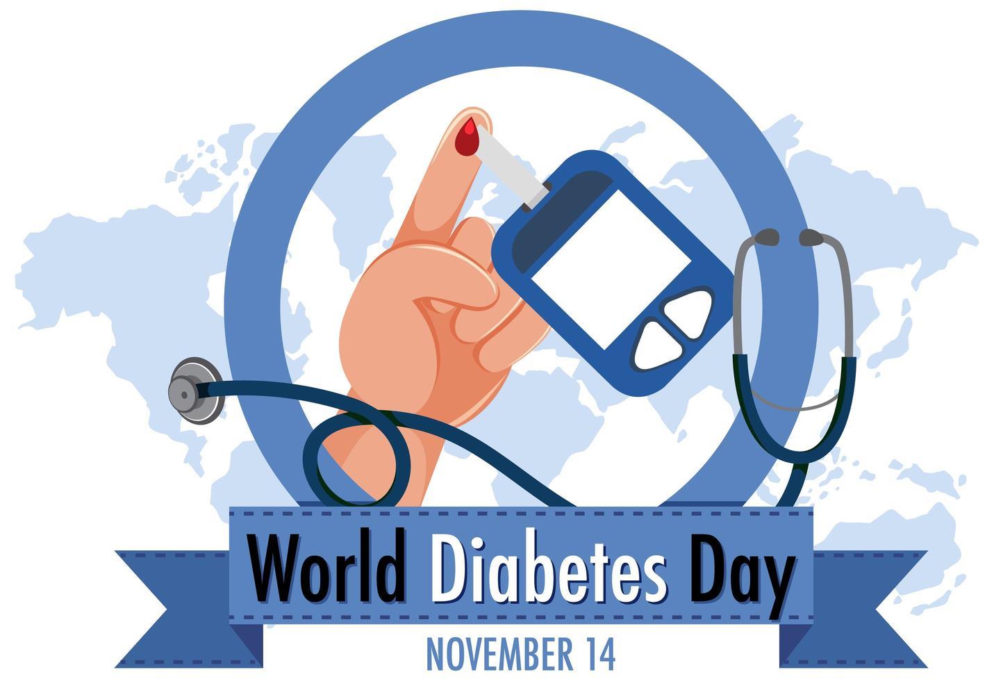 logo ou bannière de la journée mondiale du diabète avec du sang sur le doigt et autocode de glucosure vecteur
