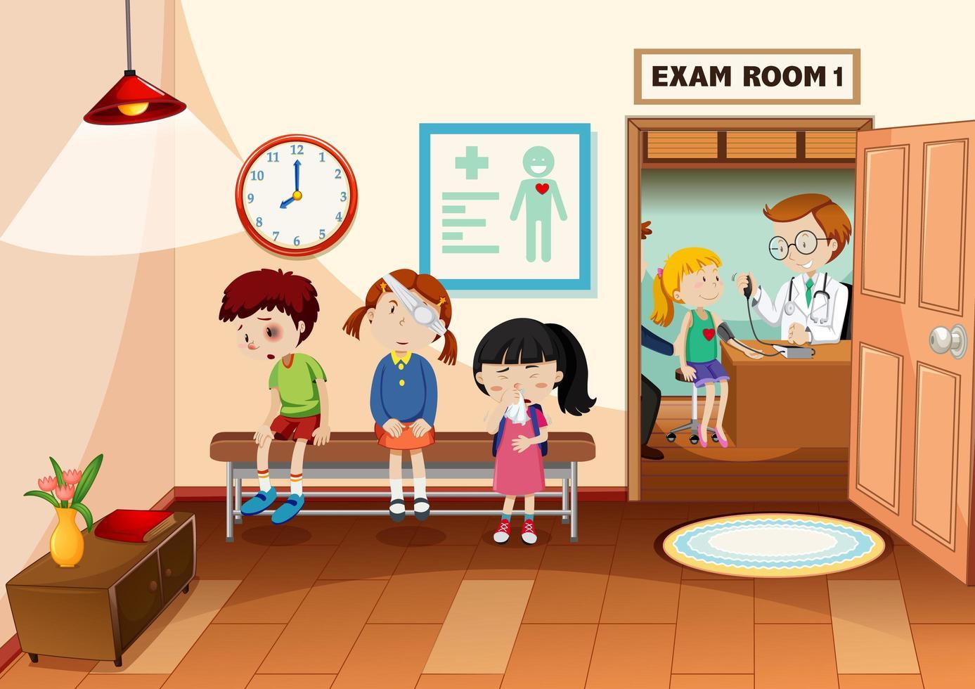 enfant à l'hôpital avec une scène de médecin vecteur