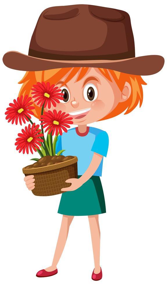 girl, tenue, fleur, dans, pot, dessin animé, caractère, isolé, blanc, fond vecteur