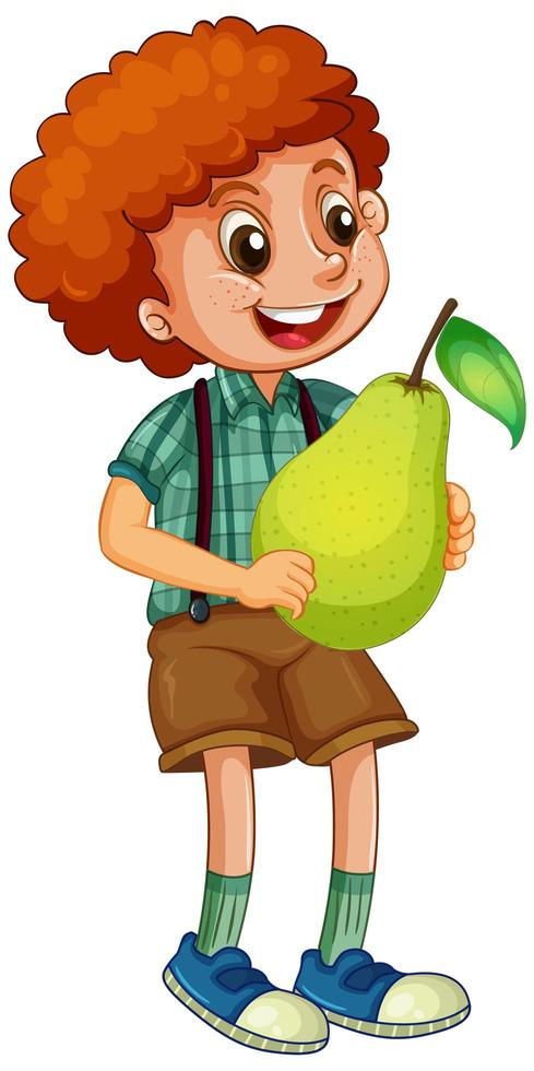 un garçon tenant une poire isolée vecteur