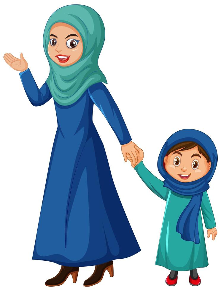 personnage de dessin animé musulman mère et enfant vecteur