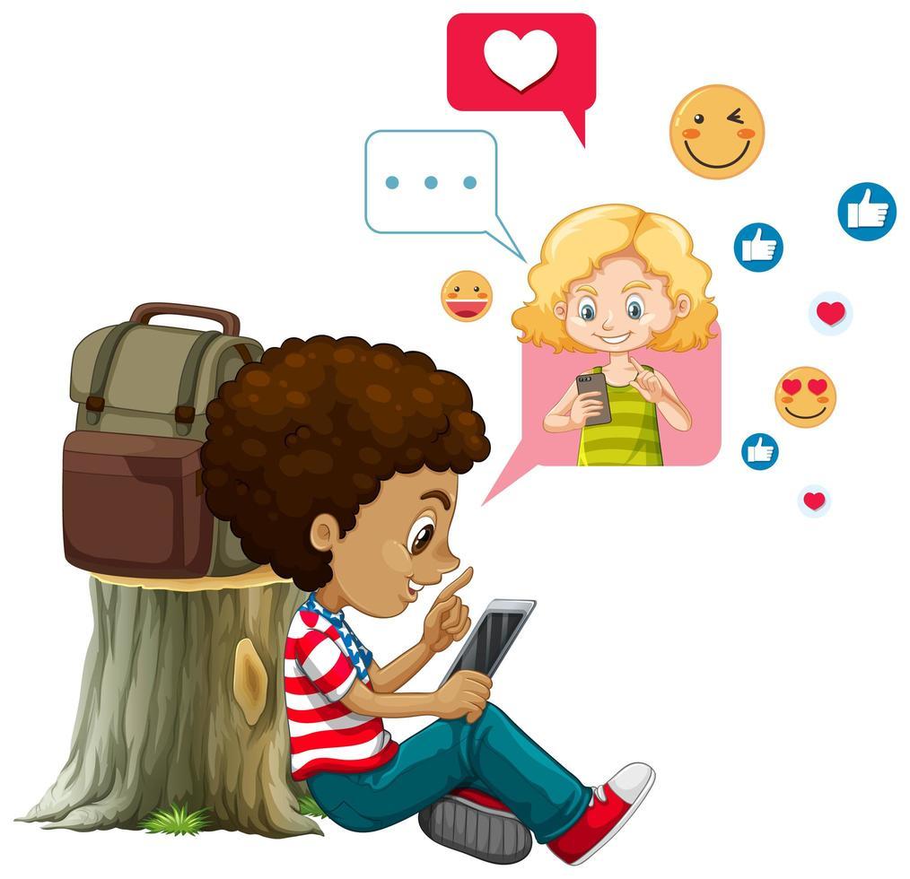 enfants avec des éléments de médias sociaux sur fond blanc vecteur