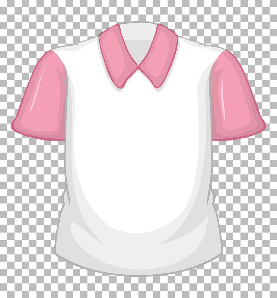 chemise blanche vierge à manches courtes rose sur transparent vecteur