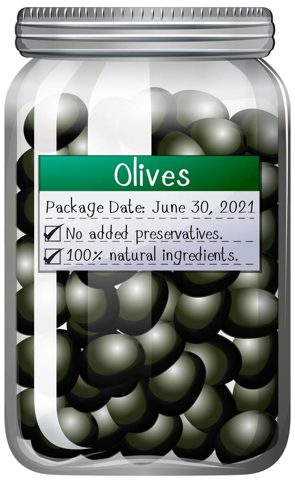 olives marinées dans un bocal en verre vecteur