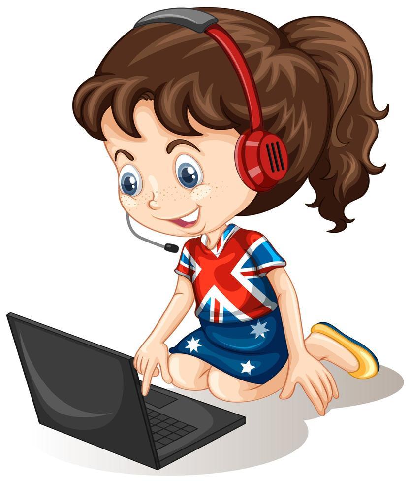une fille avec un ordinateur portable sur fond blanc vecteur