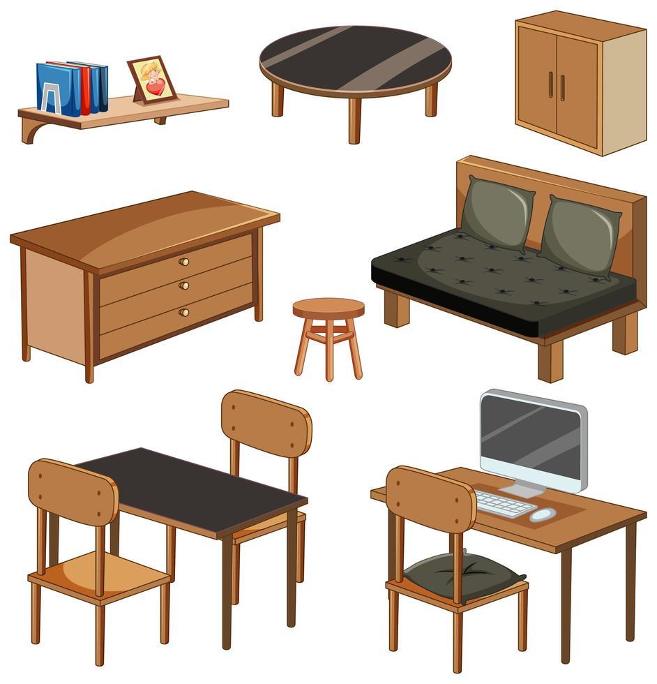Objets de meubles de salon isolés sur fond blanc vecteur