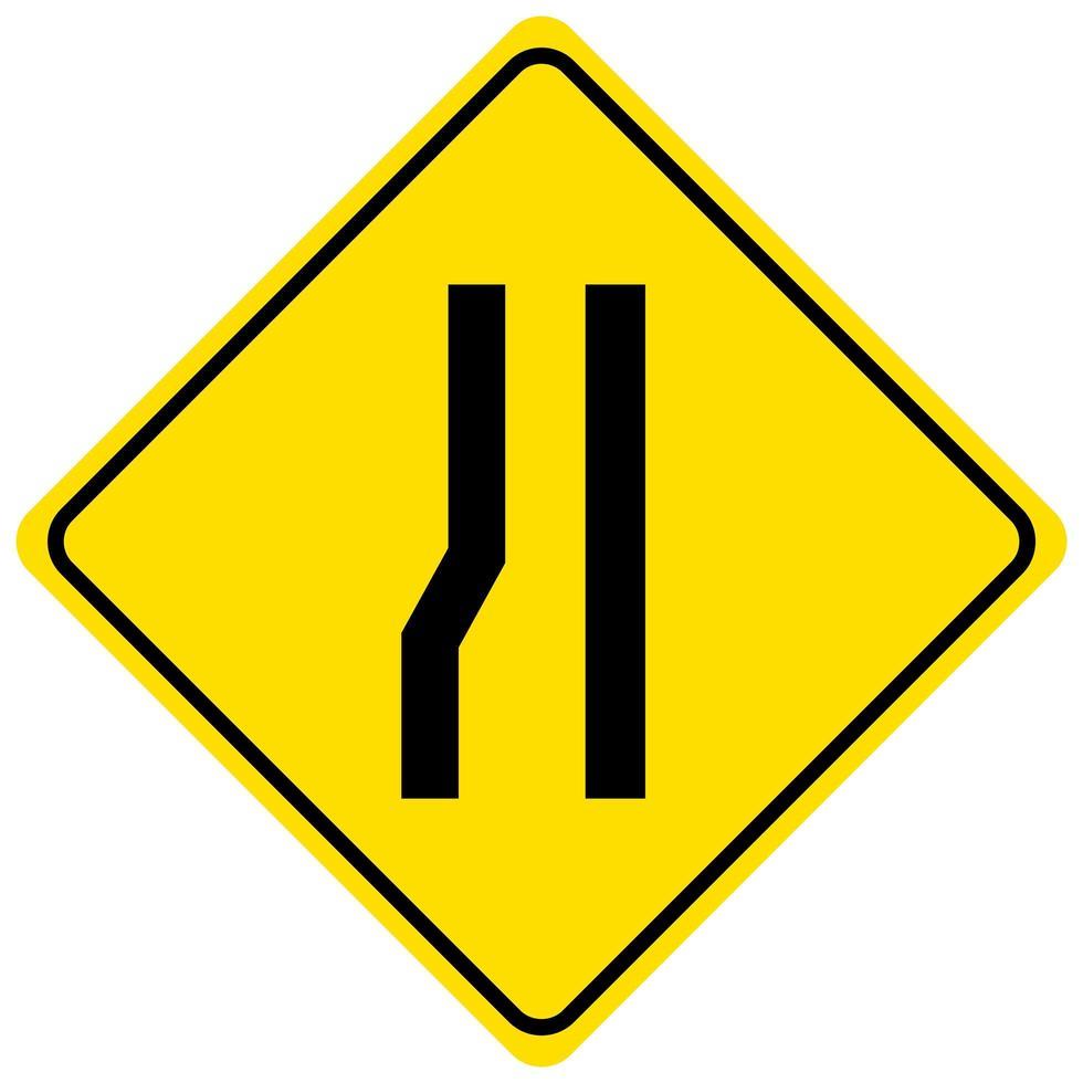 Panneau d'avertissement pour une route qui se rétrécit à gauche sur fond blanc vecteur