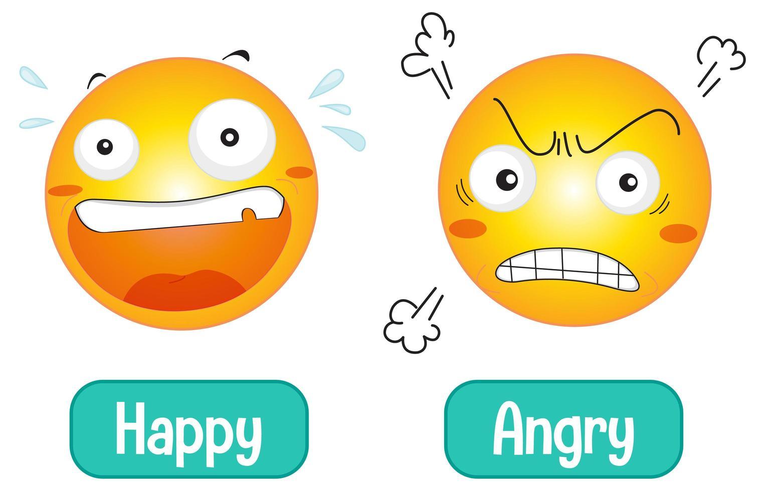 mots de sentiment opposés avec heureux et en colère vecteur