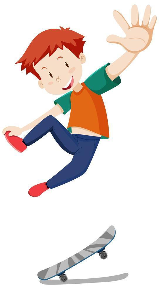 Un garçon jouant à la planche à roulettes avec une bonne humeur isolée vecteur